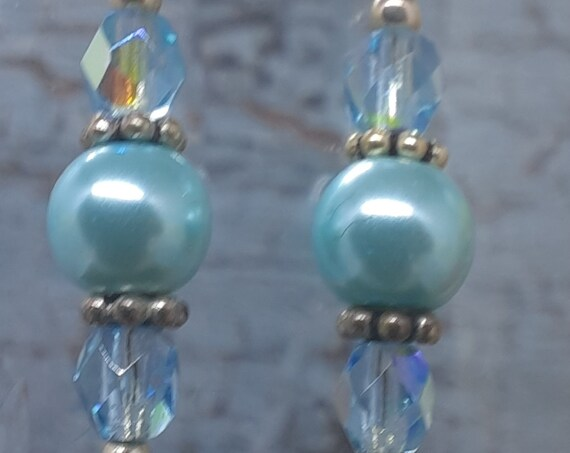 Dainty Blue Pearl and Crystal Earrings