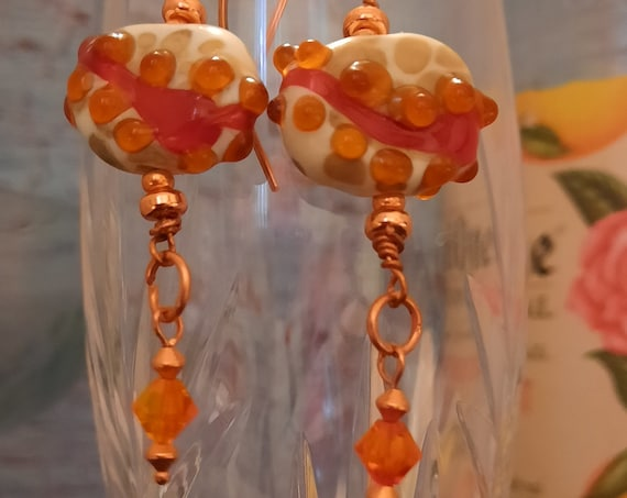 Luscious Orange and Ivory Lampwork Glass and Crystal Earrings on Copper
