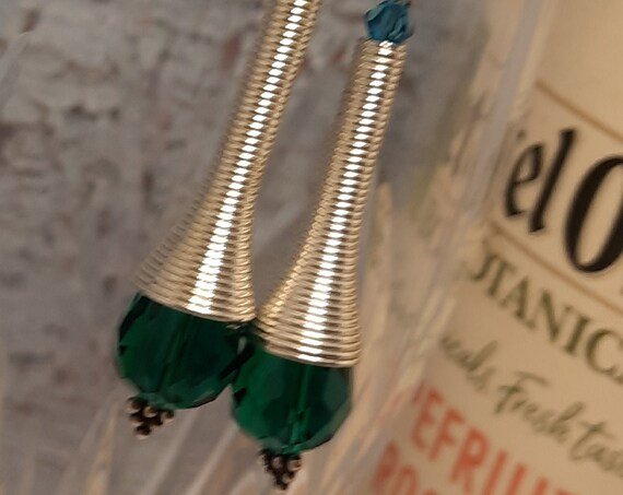 Sterling and Teal Silver Cone Earrings