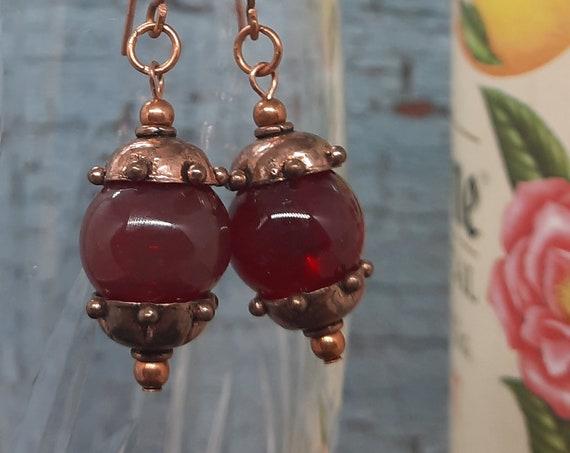 Deep Garnet Copper Earrings - Petite Copper