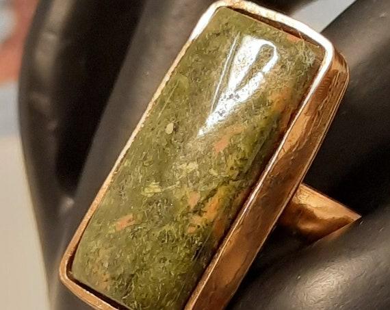 Handmade Copper Unakite Jasper Ring size 8 1/2
