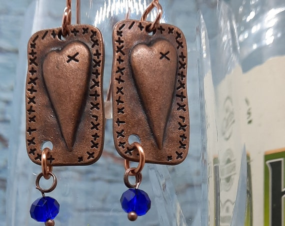 Adorable Patchwork Copper Hearts with a Cobalt Blue Crystal Dangle