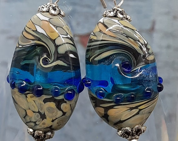 Handmade Lamp Work Earrings on Sterling