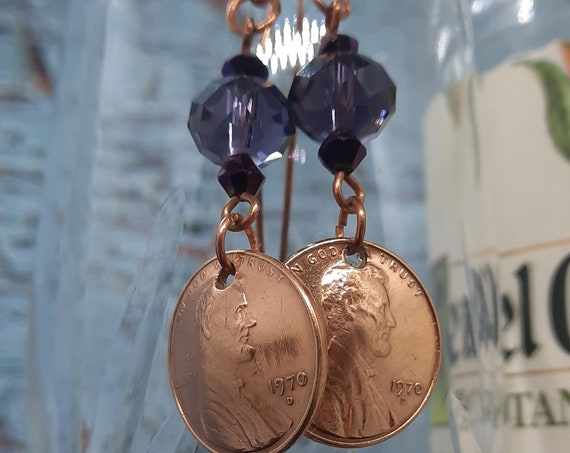 1970 Penny Earrings with Purple Crystals on Copper