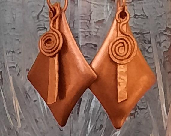 Copper geometric earrings