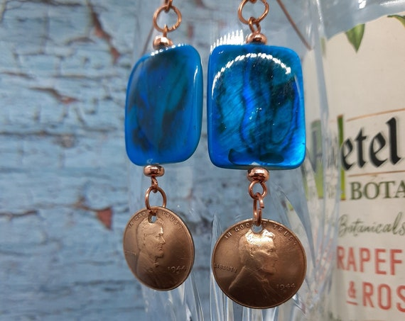 1944s Wheat Penny Earrings with Dyed Mother of Pearl