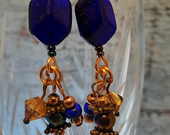 Stunning Cobalt and Copper Earrings