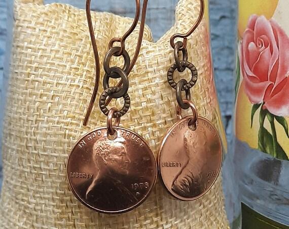 1978 D U.S. Penny Earrings on Copper