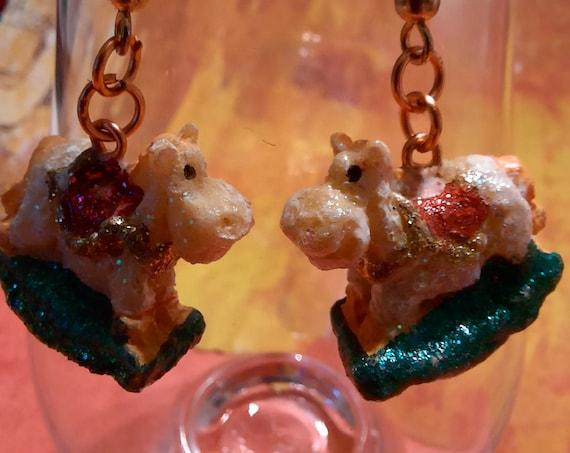 Chunky Rocking Horse Earrings - Sugar Plums Christmas Earrings