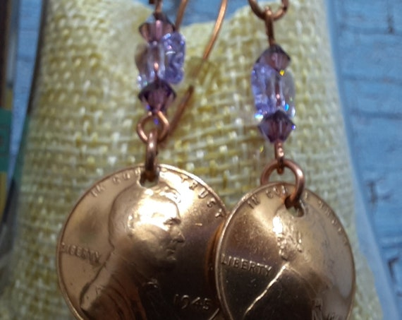 1945 Wheat Penny Earrings and Lilac Swarovski Butterfly on Copper Wires