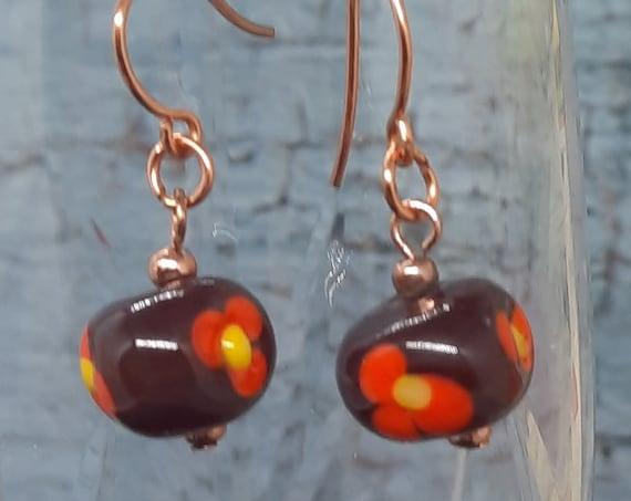 Burgandy and Orange Lampwork Flower Earrings