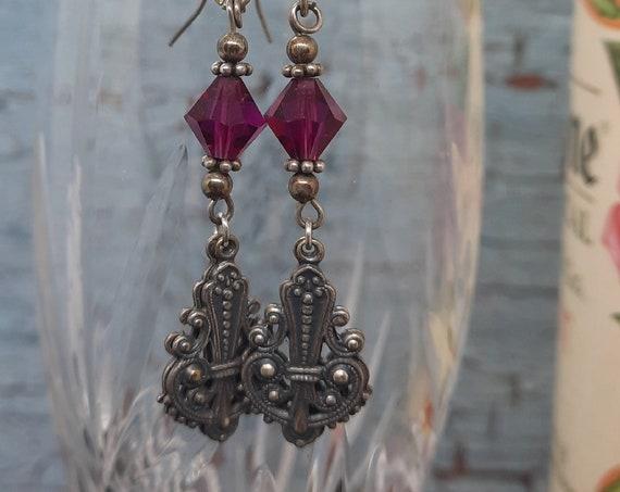 Passionate Purple Earrings!  Sterling Silver