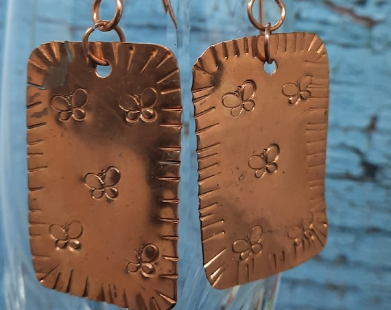 Stamped Butterfly Copper Earrings