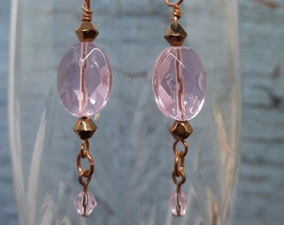 Pink crystal and Copper Earrings