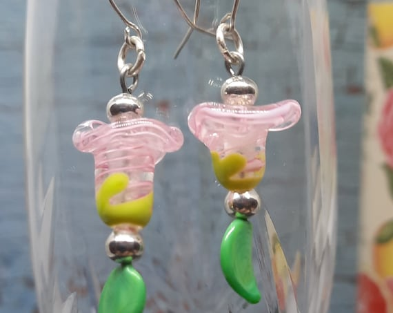 Pink Easter Lilly Lampwork Earrings on Sterling