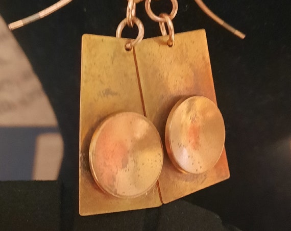 Simple Abstract Copper Earrings