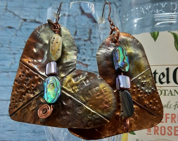Large Fold Formed Copper Heart Earrings with Mother of Pearl Dangle