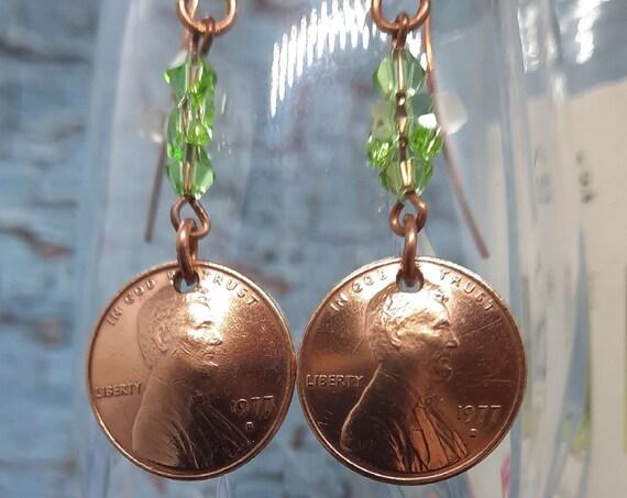 1977 D U.S. Penny Earrings - with Swarovski Butterfly on Copper