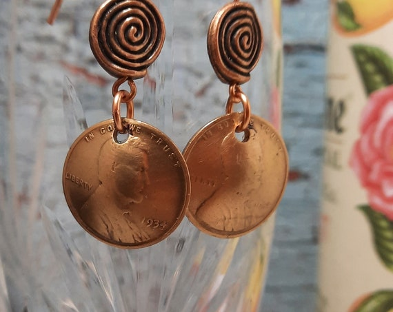 1934 US Wheat Penny Earrings with Greek Swirl