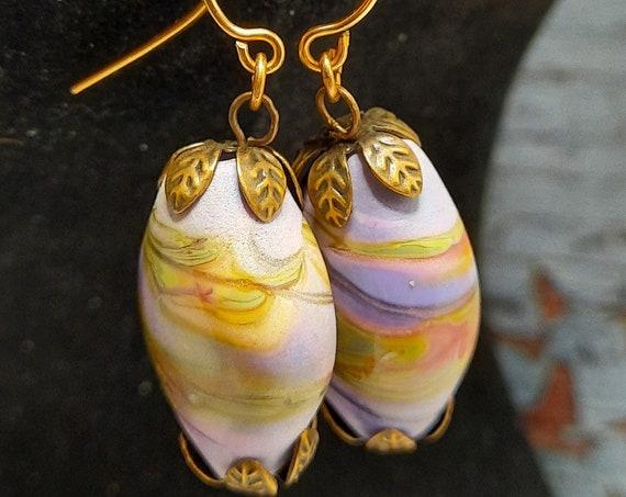 Purple Swirl Lampwork Earrings on Copper