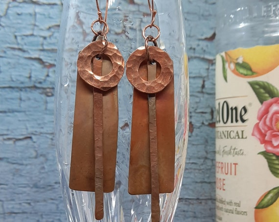 Handcrafted Copper Mixed Message Earrings