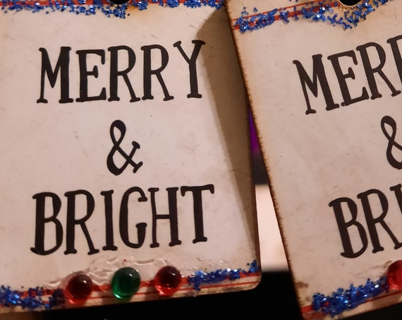 Merry and Bright Wood Sign Earrings - Sugar Plums