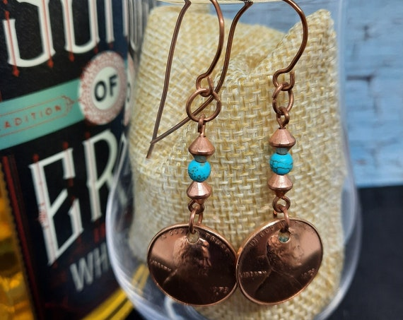 1973 U.S. Penny Earrings - Turquoise accents