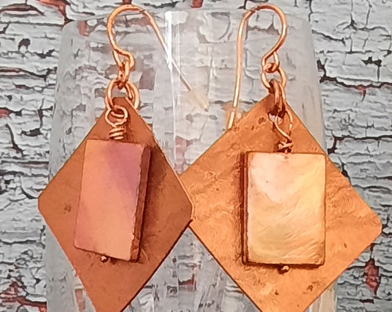 Glowing Copper and Mother of Pearl Earrings