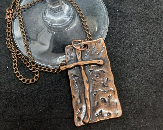 Bold Copper Cross Necklace - 17.5 inches