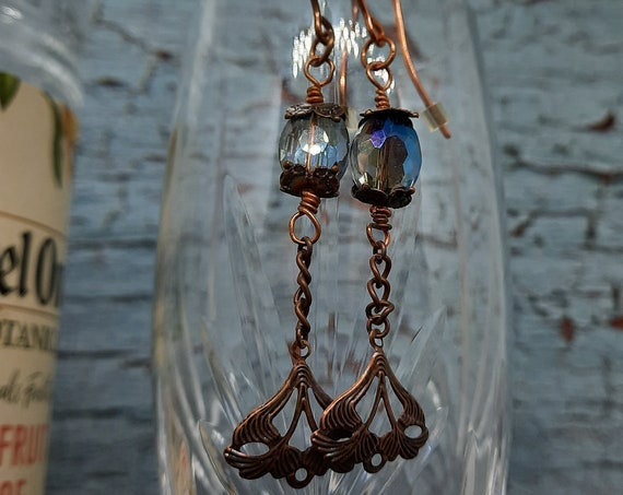 Mermaid Tail Copper and Crystal Earrings