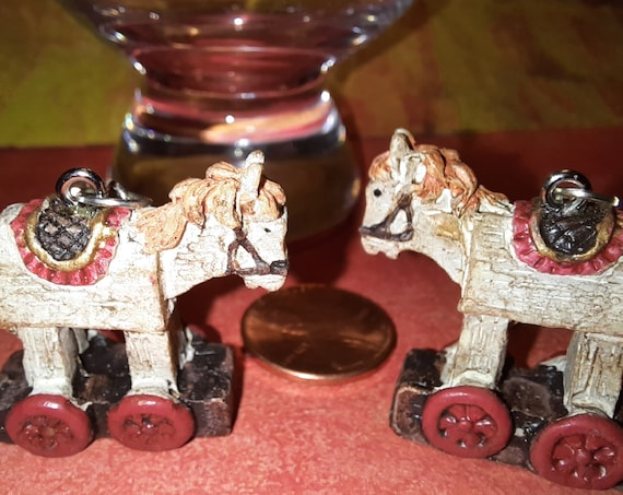 Wooden Pony Pull Toy Earrings - Kurt Adler Sugar Plums