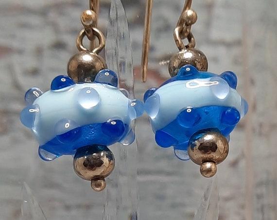 Sterling and blue Lampwork Water Droplet earrings