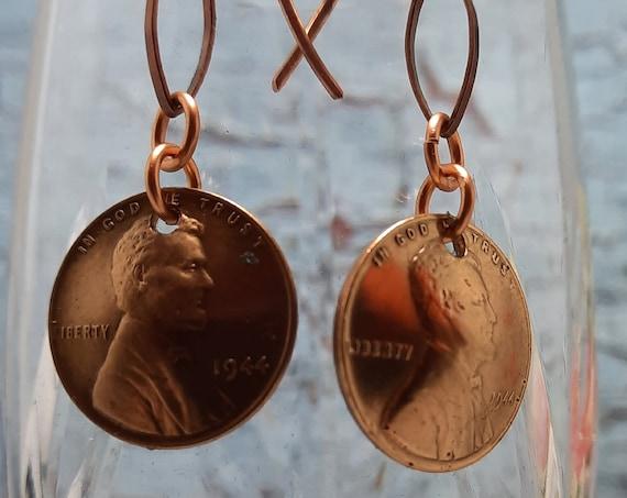 1944 US Wheat Penny Earrings on a copper oval