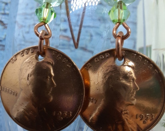 1953 D Wheat Penny Earrings with Swarovski Crystals on Copper Wires