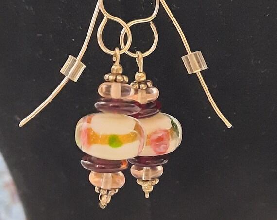 Grandma's Lampwork Earrings - Sterling Silver
