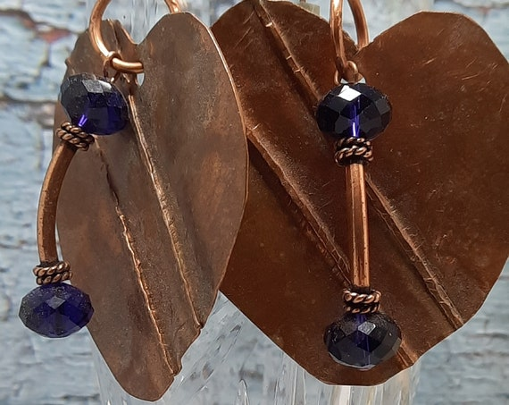 Freform Heart & Purple Crystal Earrings and Necklace set - Formfolded Copper