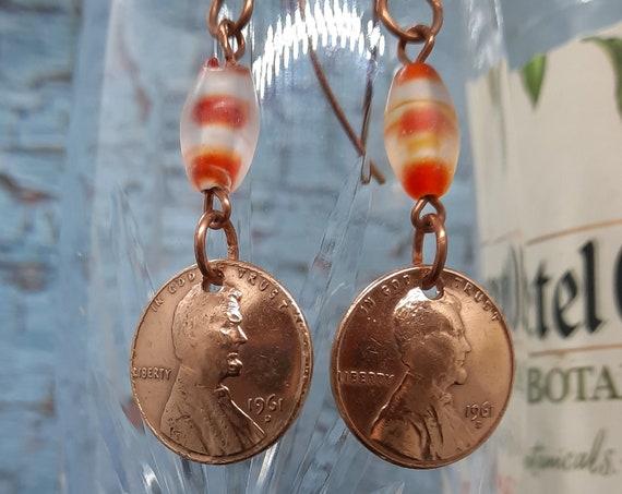1961 D Penny Earrings Copper Wires