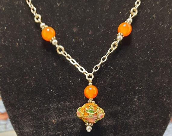 Cloisonné Necklace and Earring Set - Sterling Silver