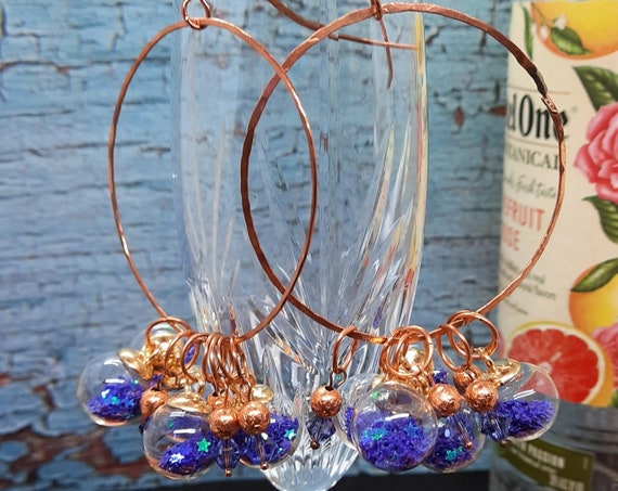 Fun Bangle Hammered Copper Earrings with Purple Stars and Crystals!