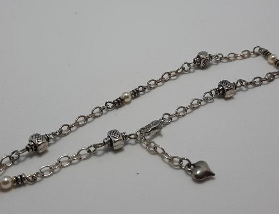 Sterling Ankle Bracelet Celtic with Heart dangle