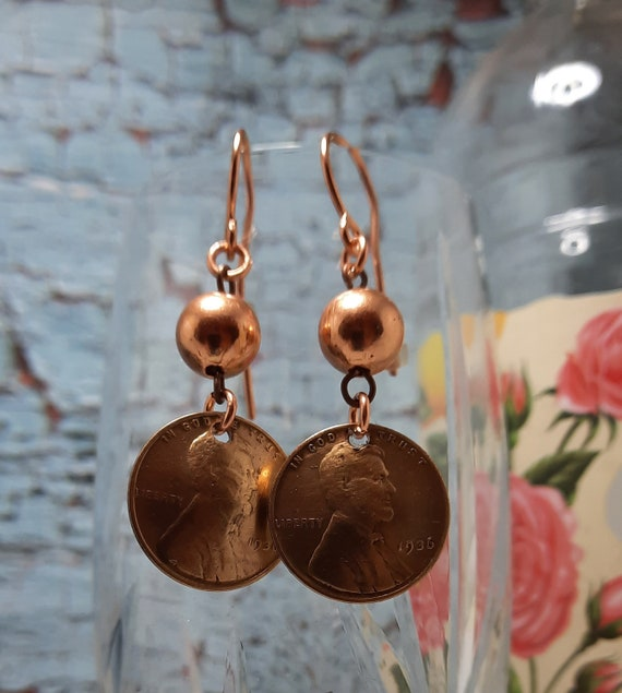 1936 US Wheat Penny Earrings with Copper Ball