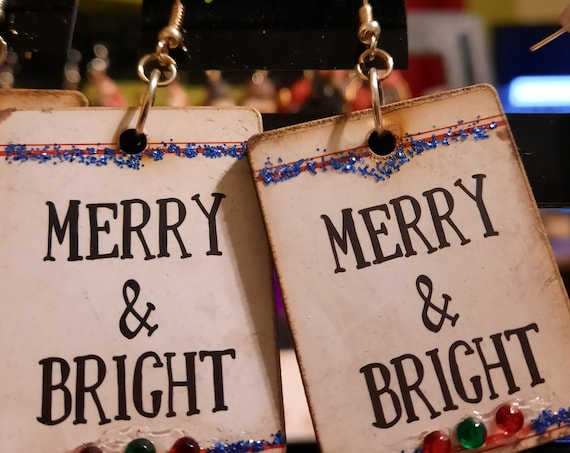 Merry and Bright Wood Sign Earrings - Sugar Plums Christmas Earrings