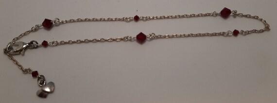 Sterling Silver and Swarovski Ankle Bracelet Siam Red