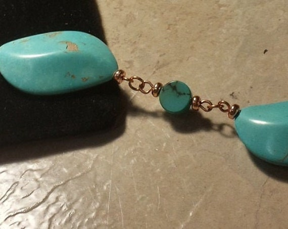Stunning Turquoise Colored Magnesite and Copper Bracelet