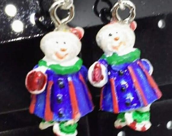 Sugar Plums Christmas Earrings - Ice Skating Snowman!