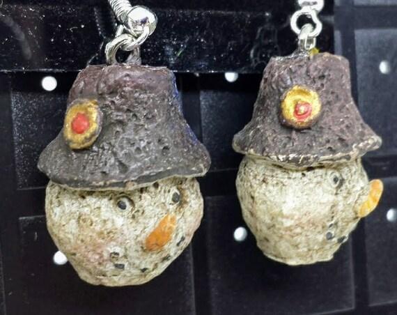 Sugar Plums Christmas Earrings - Rustic Snowman!