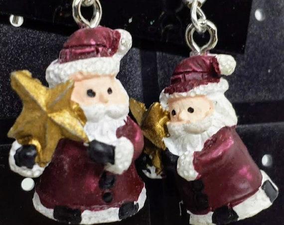 Sugar Plums Christmas Earrings - Santa carrying a star