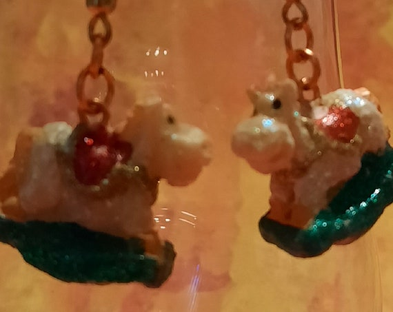 Chunky Rocking Horse Earrings - Sugar Plums