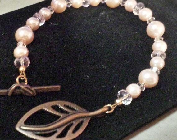 Pink Swarovski Pearls, crystals and Copper Bracelet