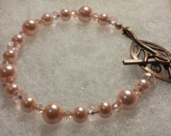 Pink Swarovski Pearls, crystals and Copper Bracelet